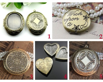 3 Pieces Lockets Pendants New vintage patinated brass LOCKET,Photo locket, Etched locket
