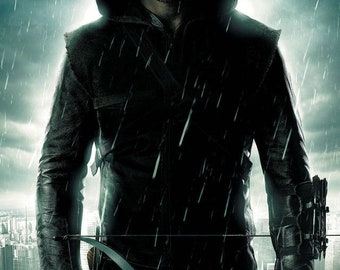 Arrow the TV Series Hooded Man Standing under the Rain 22 by 28 inch or any size you want high quality