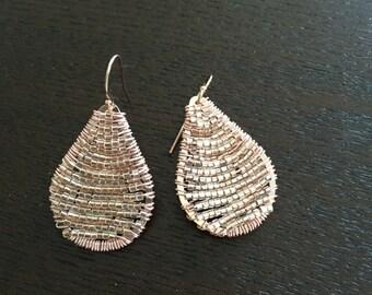 Handmade earrings. Rose Gold Seedbead Teardrop Earrings. Teardrop Earrings. Chic. Unique Jewelry. Rosegold Earrings. Sugarplum Gallery.