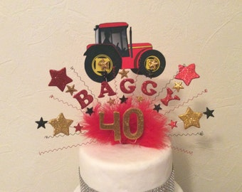 Tractor cake topper /centre piece . Made with your choice of name and age in a range of  colours