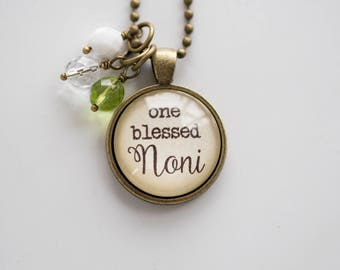 Noni Pride Necklace - Blessed Necklace - Birthstone Jewelry One Blessed Noni Pendant Text Jewelry Custom Necklace Name Mothers Day Gift