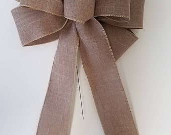 "Set of 2 Large 10"" Hand Made Wired Linen Bows Natural"