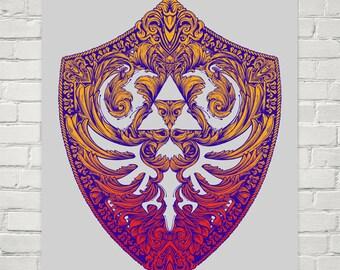 Hylian Victoriana - Art Print of an Original Legend of Zelda Hylian Shield Illustration (colour version)