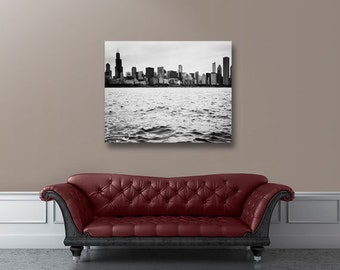 Cavas art, Chicago photography, black and white, photo on canvas, fine art photography, Chicago decor, large wall art