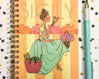 Sicily gold spiral notebook