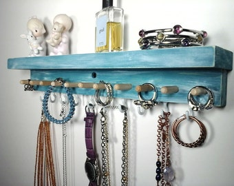 Jewelry Organizer Wall Jewelry Storage, Necklace Hanger, Earring Holder, Bracelet and Ring Holder. Closet Organizer Bedroom Decor with Shelf