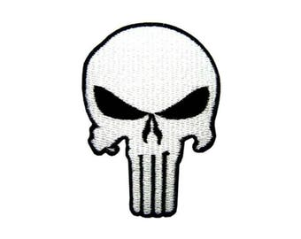 """FREE SHIPPING-Domestic-InspireMeByAudrey Marvel Punisher Skull Logo Embroidered Sew/Iron-on Patch 3.5""""x2.5"""""""