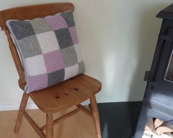 PILLOW / cushion cover ' .100% pure wool ( easy-care ,superwash ).'Serenity' .Crochet. UK seller   .... ready to ship ....