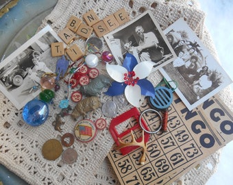 Vintage Junk Drawer Lot Destash Enamel Flower Costume Brooch, Scrabble Letters, Bingo Cards, Lead Sheep Figurines, Old Photos, Keychain Ring