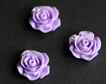 Purple Rose Refrigerator Magnets. Set of Three. Lavender Rose Flower Magnet Set. Pastel Rose Fridge Magnets. Handmade Home Decor.