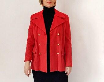 Vintage Red Blazer, Valentines Women's Jacket, Double Breasted Jacket, Knit Blazer, Size 14, Preppy Nautical Jacket