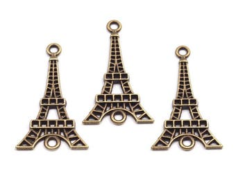 3 charm silver or bronze paris eiffel tower Charm