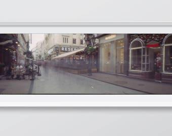 Váci street, Budapest, Hungary. Analogue photograpy made with a built lensless camera.
