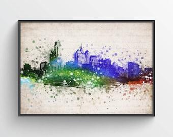 Philadelphia Skyline Poster, Philadelphia Cityscape, Philadelphia Decor, Philadelphia Art, Home Decor, Gift Idea, USPAPH0P