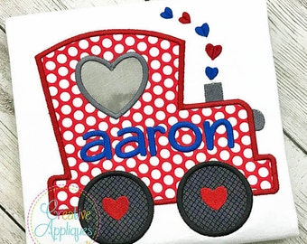 Personalized Valentine's Train with Heart Applique Shirt or Bodysuit Girl or Boy