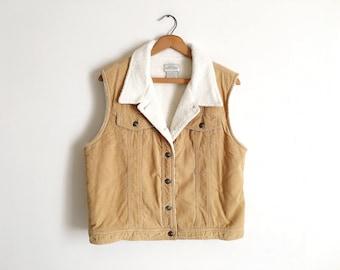 Vintage Tan Corduroy Vest Faux Fur Lining Cropped Cotton Vest Boho Western Vest Cropped Corduroy Outdoors Vest Jacket Great Northwest