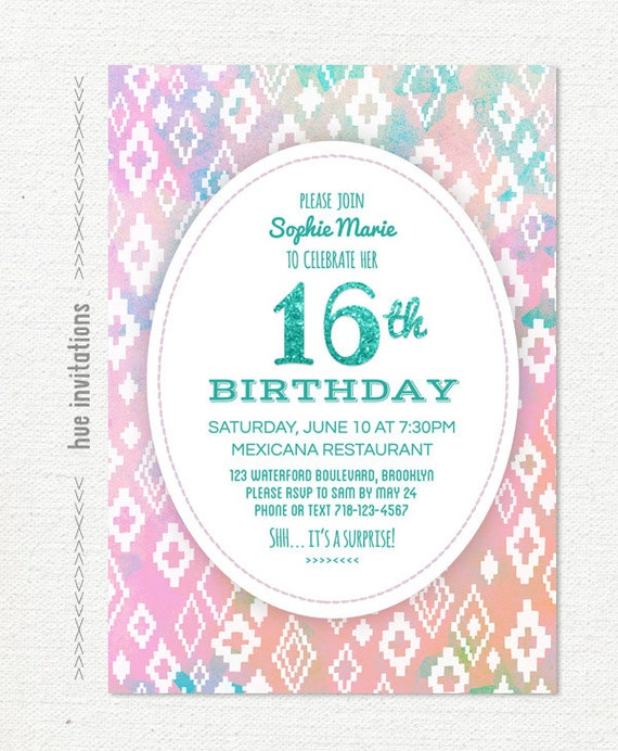 Items similar to 16th birthday invitation for girls tribal glitter items similar to 16th birthday invitation for girls tribal glitter sweet 16 birthday party invite pastel pink blue turquoise digital file 5x7 jpg pdf 732 stopboris Images