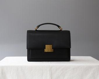black leather crossbody bag, black leather shoulder bag, leather satchel bag, messenger bag, leather purse, handle bag, structured bag