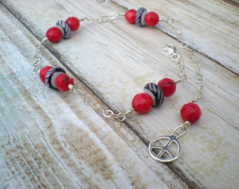 Freedom and Peace anklet, sterling silver, red coral, Indonesian glass, unique jewelry by Grey Girl Designs on Etsy