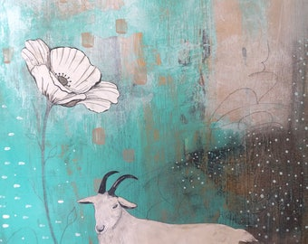 Large Painting- Farm Animal Wall Art for Your Modern Farmhouse, Original Painting