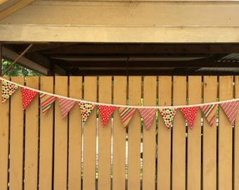 Bunting - Red, Green, Spots & Strpes