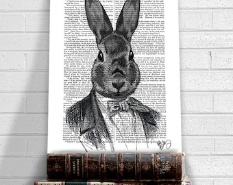 Rabbit print - Rabbit in suit portrait -  rabbit gift for rabbit lovers gift for boyfriend gift fathers day gift for dad mens gift groomsmen
