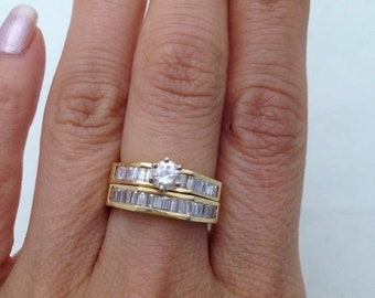 1.45 Carat Diamond Bridal Set Engagement Ring and Wedding Band 14K Yellow Gold with Baguette Stones