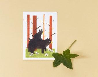 Bear Family Illustrated Postcard