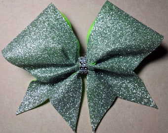 Silver Glitter Lime Green Base Bow ~Adorable Designs NH~Cheer Bow~