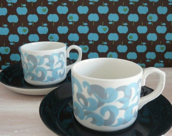 2 x T G Green Gresley Cornishware Coffee Cups and Saucers 1960's / 1970's Psychedelic Swirl Pattern Retro  Vintage Mid Century