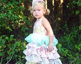 Karleigh Ruffle Dress, Easter Dress, Tea party dress, Pink and gold birthday dress, girls dresses, party dress, pageant dress, toddler dress