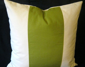 Olive green Natural center Duck Canvas pillow cover 26 X 26