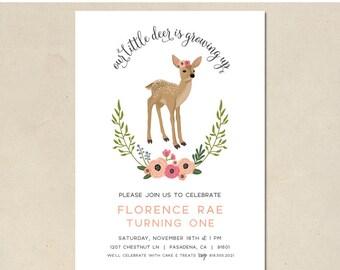 deer birthday invitation - our deer - hand illustrated deer invitation - deer party - birthday deer & florals - DIY - custom - printable