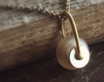 Simplicity Necklace - Perfectly Luminous and Balanced Pendant on Antique Brass Chain