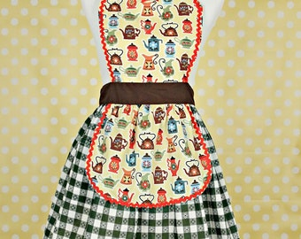 RETRO APRON  Coffee and Tea print with green checked tablecloth print womens full apron flirty hostess gift vintage inspired flirty