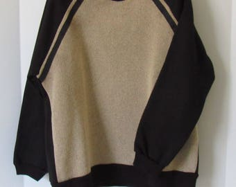 Handmade, Hand Sewn,Womens Sweatshirt, Sweatshirt,Pullover,Comfy Sweatshirts,Black,Beige,Gift for Her,Birthday,Black Sweatshirt,Cotton,Small