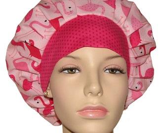 Fun Flamingos Pink-Scrub Hats-Scrub Caps-Surgical Scrub Hat-ScrubHeads-Bouffant Scrub Hat-Scrub Hats For Women-Flamingos Scrub Hat