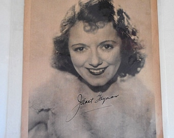 Vintage Hollywood Vintage Photo Janet Gaynor Hollywood Star Photo 1930s Hollywood Autographed Photo Publicity Photo