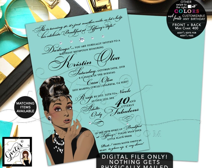 Audrey Hepburn Printable Invitation, 40th Birthday Breakfast at 40 and utterly fabulous, African American, DIY, Digital, 5x7 Double Sided.