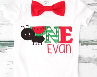 Boy first birthday Watermelon ant 1st birthday bow tie  set cake smash outfit Boy first birthday Boy ONE Watermelon first bday