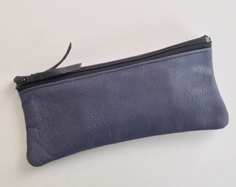Soft Blue Leather Pencil Case / Makeup Pouch with Zipper