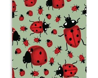 "Ladybug Art Print - 5""x7"", 8x10"", 11""x14""- Wall Art - Garden, Luck, gift, home decor"