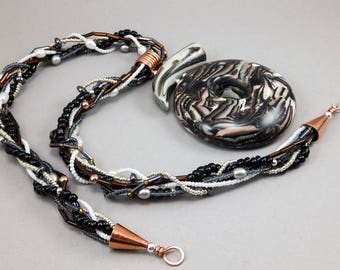 BOLD Donut Statement Necklace - Black Copper Metallic Choker with Pearls Hematite No. 168