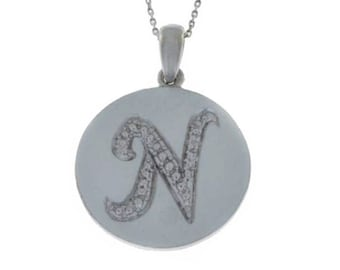 Initial Letter N Pendant .925 Sterling Silver Rhodium Finish