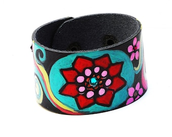 Painted Colorful Flower Black Boho Cuff Bracelet Hippie Bohemian Jewelry FREE SHIPPING