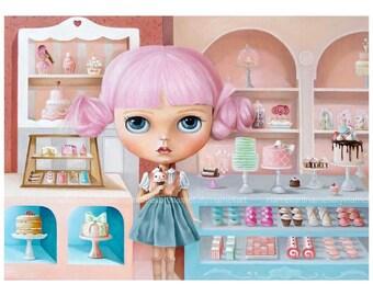 Sweet Bakery Girl, LIMITED EDITION print Pop Surrealism Fine Art Print ,big eyed ,pink hair girl, ooak blythe, sweet girl portrait