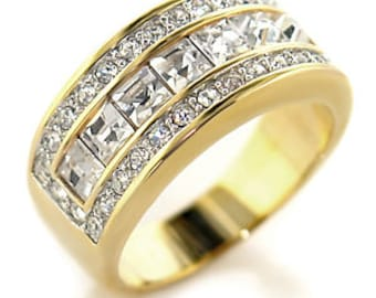 Ring - ref10612-gold plated - set CZ over 180 degrees