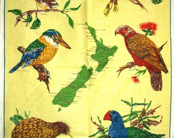 Birds of New Zealand Linen Tea Towel - 70s Native Birds Kiwi Fantail Kingfisher Souvenirs Map - New Old Stock