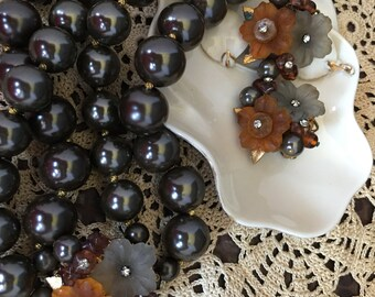 Vintage Gray large beads Torasade Necklace with matching earrings
