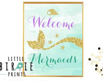 MERMAID PARTY SIGN Welcome Mermaids Mermaid party printables Gold and Purple Mermaid Wall Art - Welcome Sign Mermaid Baby Shower